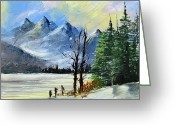 Trees Ceramics Greeting Cards - 1130b Mountain Lake Scene Greeting Card by Wilma Manhardt
