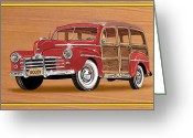 Sportsmen Greeting Cards - 1946 Ford WOODY Greeting Card by Jack Pumphrey