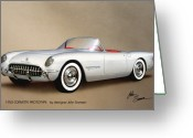 Sketch Greeting Cards - 1953 CORVETTE classic vintage sports car automotive art Greeting Card by John Samsen