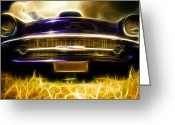 Custom Chev Greeting Cards - 1957 Chevrolet Bel Air Greeting Card by Phil 