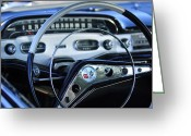 1958 Chevrolet Greeting Cards - 1958 Chevrolet Impala Steering Wheel Greeting Card by Jill Reger