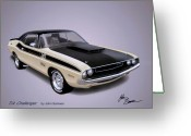 Barracuda Greeting Cards - 1970 CHALLENGER T-A  Dodge muscle car sketch rendering Greeting Card by John Samsen