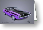 Barracuda Greeting Cards - 1970 CHALLENGER T-A  muscle car sketch rendering Greeting Card by John Samsen
