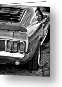 Black And White Photos Digital Art Greeting Cards - 1970 Ford Mustang Mach 1 Greeting Card by Gordon Dean II