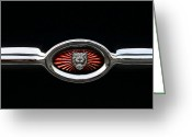 Jaguar E Type Greeting Cards - 1973 Jaguar Type E emblem Greeting Card by Paul Ward