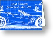 Corvette Art Print Drawings Greeting Cards - 2010 Corvette Grand Sport - Z06 - ZR1 Reverse Blueprint Greeting Card by K Scott Teeters
