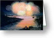 Fireworks Painting Greeting Cards - 4th of July Gloucester Harbor Greeting Card by Eileen Patten Oliver