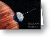 Extrasolar Planet Greeting Cards - 70 Virginis b and Moons Greeting Card by Lynette Cook