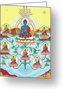 Iconography Painting Greeting Cards - 8 Medicine Buddhas Greeting Card by Carmen Mensink