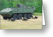 Armored Vehicles Greeting Cards - A Belgian Army Piranha Iiic With The Fn Greeting Card by Luc De Jaeger
