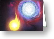 Binary Stars Greeting Cards - A Binary Star System Greeting Card by Corey Ford