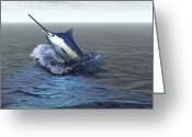 Sea Life Digital Art Greeting Cards - A Blue Marlin Bursts From The Ocean Greeting Card by Corey Ford