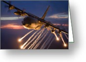 Us Air Force Greeting Cards - A C-130 Hercules Releases Flares Greeting Card by HIGH-G Productions