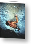Endurance Greeting Cards - A Caucasian Man Rock Climbing Greeting Card by Bobby Model