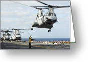 Assistance Greeting Cards - A Ch-46e Sea Knight Helicopter Takes Greeting Card by Stocktrek Images
