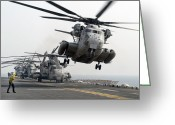Taking Off Greeting Cards - A Ch-53e Super Stallion Lifts Greeting Card by Stocktrek Images
