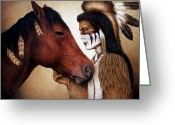 Western Painting Greeting Cards - A Conversation Greeting Card by Pat Erickson