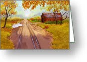 Old Country Roads Painting Greeting Cards - A Country Road Greeting Card by Sena Wilson