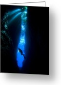 Cavern Greeting Cards - A Diver Explores The Lerus Cut Greeting Card by Steve Jones
