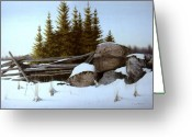 Split Rail Fence Greeting Cards - A gentle winter Breeze Greeting Card by Conrad Mieschke