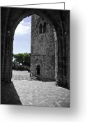 Gothic Arch Greeting Cards - A Gothic View Greeting Card by Madeline Ellis