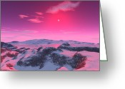 Red Dwarfs Greeting Cards - A Hypothetical Planet Orbiting A Red Greeting Card by Ron Miller