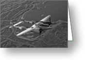 Plane Greeting Cards - A Lockheed P-38 Lightning Fighter Greeting Card by Scott Germain