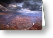 Rain Storms Greeting Cards - A Monsoon Storm In The Grand Canyon Greeting Card by David Edwards