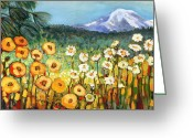 Green Field Painting Greeting Cards - A Mountain View Greeting Card by Jennifer Lommers