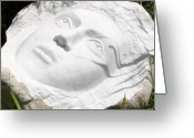 Face Reliefs Greeting Cards - A piece of marble Greeting Card by Marino Ceccarelli Sculptor