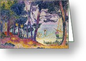 The Glade Greeting Cards - A Pine Grove Greeting Card by Henri-Edmond Cross