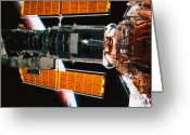 Shuttle Greeting Cards - A Satellite Docked On The Space Shuttle Greeting Card by Stockbyte