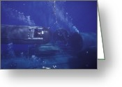 Horizontal Lines Greeting Cards - A Seal Delivery Vehicle On Tether Greeting Card by Michael Wood