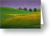 Lanscape Pastels Greeting Cards - A Sliver of Canola Greeting Card by David Patterson
