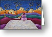 Whimsical Sculpture Greeting Cards - A Snowy Night Greeting Card by Anne Klar