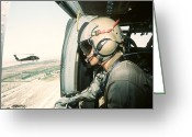 Operation Desert Storm Greeting Cards - A Soldier Scans The Horizon Greeting Card by Stocktrek Images