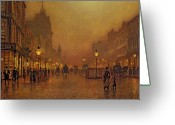 Architecture Painting Greeting Cards - A Street at Night Greeting Card by John Atkinson Grimshaw