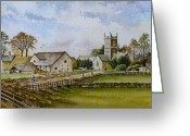 Village Church Greeting Cards - A Sunday Stroll Greeting Card by Andrew Read