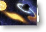 Accretion Discs Greeting Cards - A Supermassive Black Hole At The Center Greeting Card by Stocktrek Images