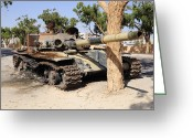 Nato Greeting Cards - A T-72 Tank Destroyed By Nato Forces Greeting Card by Andrew Chittock