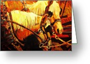 Horse Greeting Cards - A-team Greeting Card by Brian Simons
