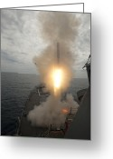 Guided Missile Destroyers Greeting Cards - A Tomahawk Missile Launch Aboard Uss Greeting Card by Stocktrek Images