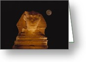 African Heritage Greeting Cards - A View Of The Great Sphinx At Night Greeting Card by Bill Ellzey