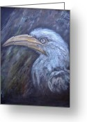 Hornbill Painting Greeting Cards - A Watchful Eye Greeting Card by Rita Palm