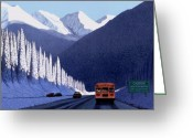 Snowscape Greeting Cards - A Winter Drive in British Columbia Greeting Card by Neil Woodward