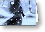 Long Gloves Greeting Cards - A Winters Walk Greeting Card by Lori  Lovetere