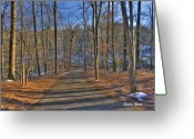 Winter Trees Greeting Cards - A Winters Walk Greeting Card by Stephen Younts