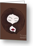 Style Drawings Greeting Cards - A woman Greeting Card by Frank Tschakert