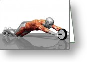 Muscle Photo Greeting Cards - Ab Wheel Exercise Greeting Card by MedicalRF.com