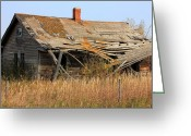 Autumn Scenes Greeting Cards - Abandoned Alberta Prairie Home Greeting Card by Jim Sauchyn